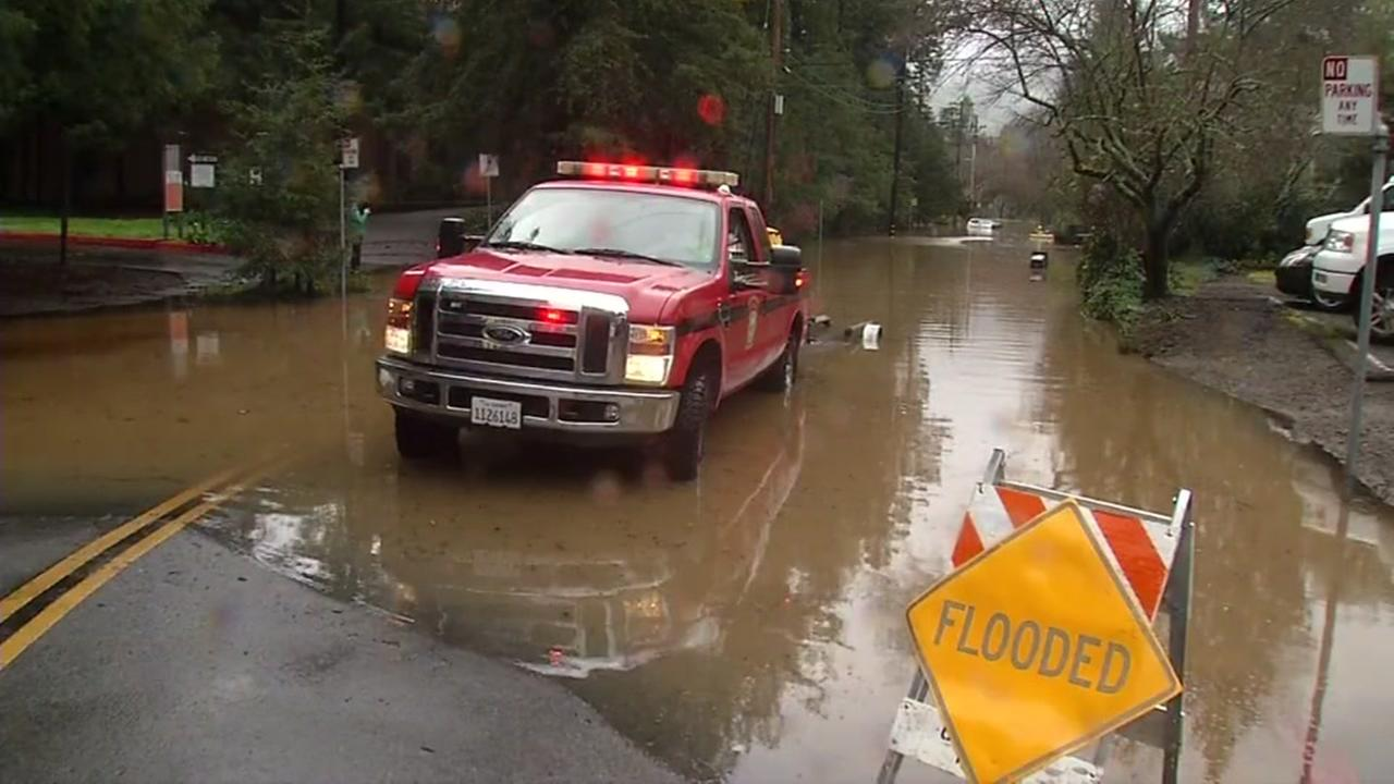 Kayaks and rowboats were the preferred way of getting around in Kentfield, Calif. on Tuesday, Feb. 7, 2017 due to flooding.KGO-TV