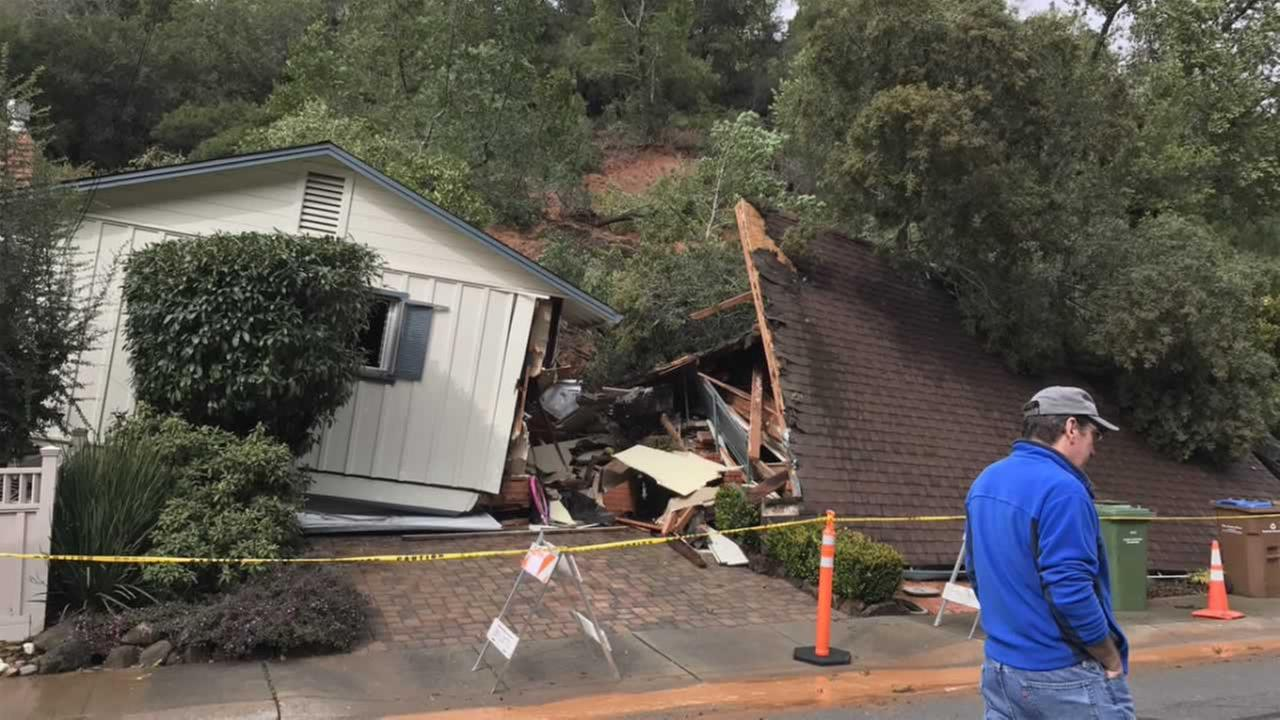 A landslide in San Rafael, Calif. took out a two-story home on Tuesday, Feb. 7, 2017.KGO-TV