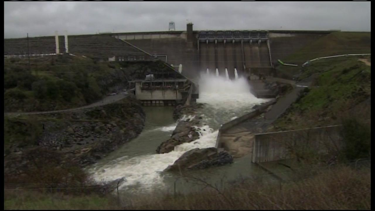 Rushing water flows out of Folsom Dam in this undated photo.