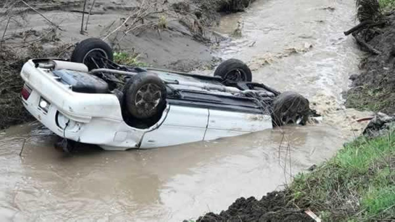 A Good Samaritan pulled a driver from a partially submerged car near Livermore, Calif. on Tuesday, Feb. 2017.Photo by CHP