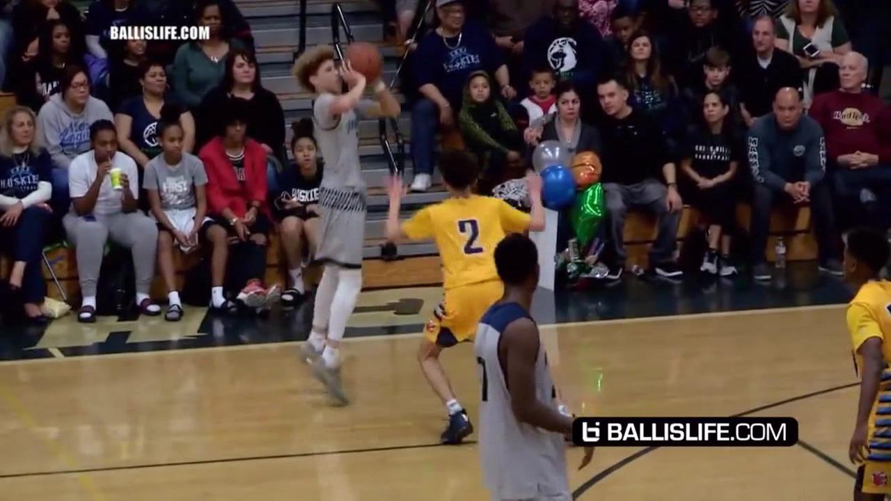 Lamelo Ball shoots during his 92-point game on Feb. 7, 2017.