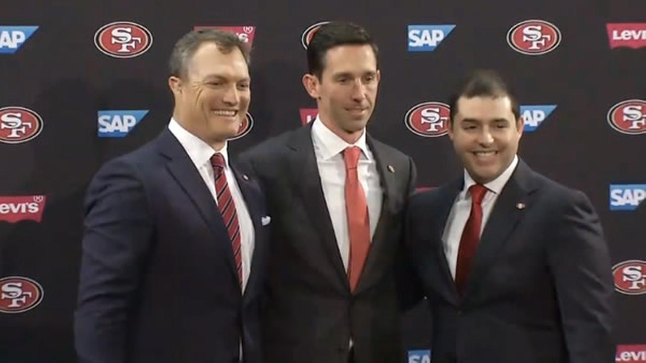 49ers GM John Lynch, head coach Kyle Shanahan and CEO Jed York pose for a picture after a news conference on Thursday, Feb. 9, 2017.