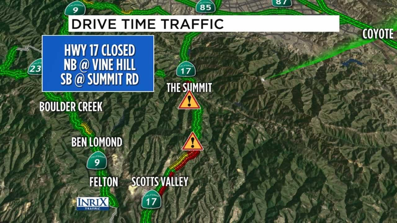 This map shows Highway 17 at Vine Hill slide on Friday, Feb. 10, 2017.