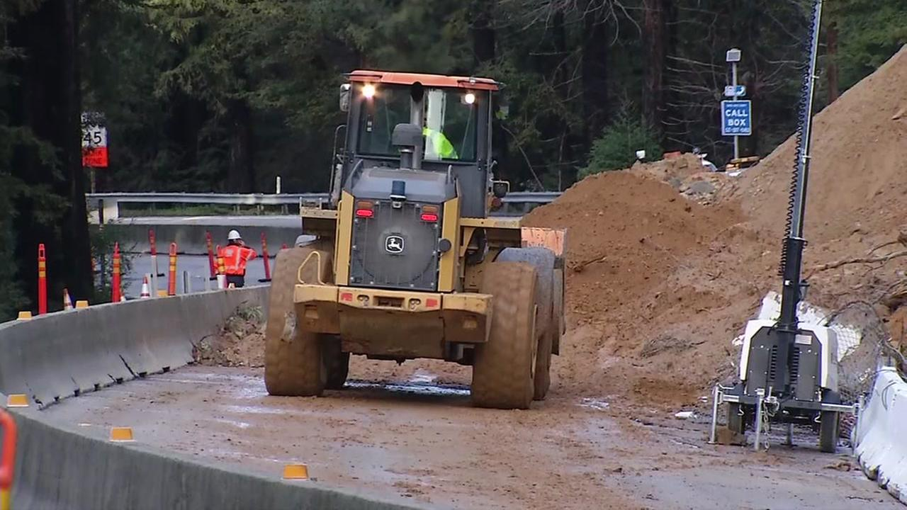 Caltrans crews are working to secure a section of Highway 17 near Scotts Valley, Calif. on Friday, Feb. 10, 2017.