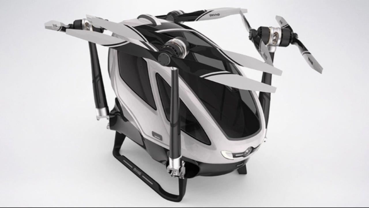 This is undated concept art of a passenger drone that may be available for use in Dubai in July of 2017.