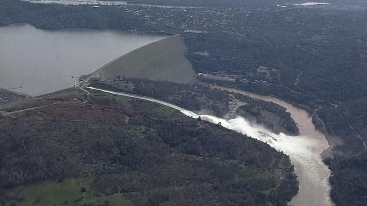 Oroville Dam emergency spillway, Oroville, California, Monday, February 13, 2017.