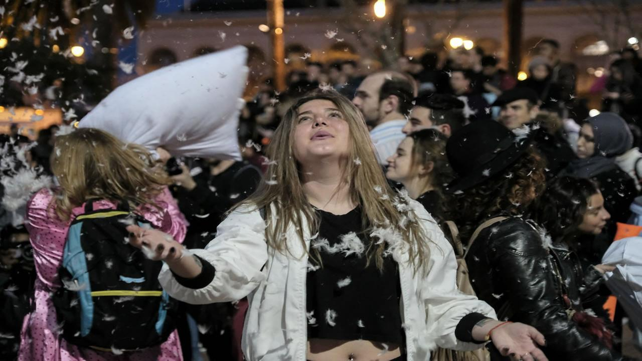 A woman participates in the San Francisco Valentines Day pillow fight on Feb. 14, 2017.
