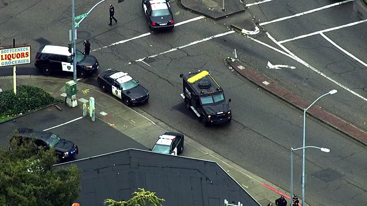 Police respond to active shooter situation in Oakland, California, Friday, February 17, 2017.KGO-TV