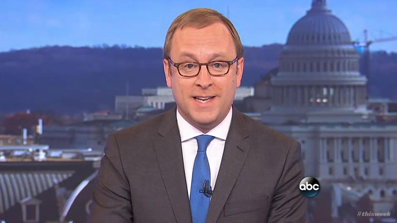 ABC News Chief White House Correspondent Jonathan Karl speaks at the end of a show on Sunday, Feb. 19, 2017.