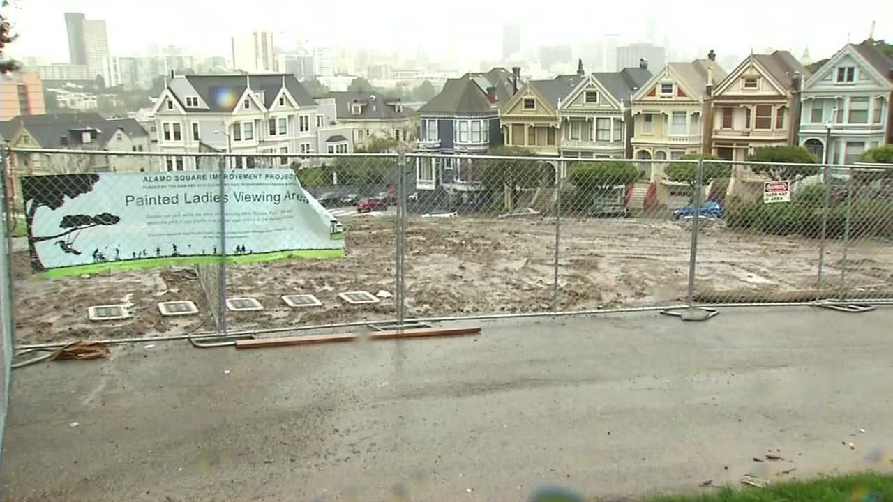 Rain and mud soak Alamo Square Park in San Francisco Monday, February 20, 2017KGO-TV