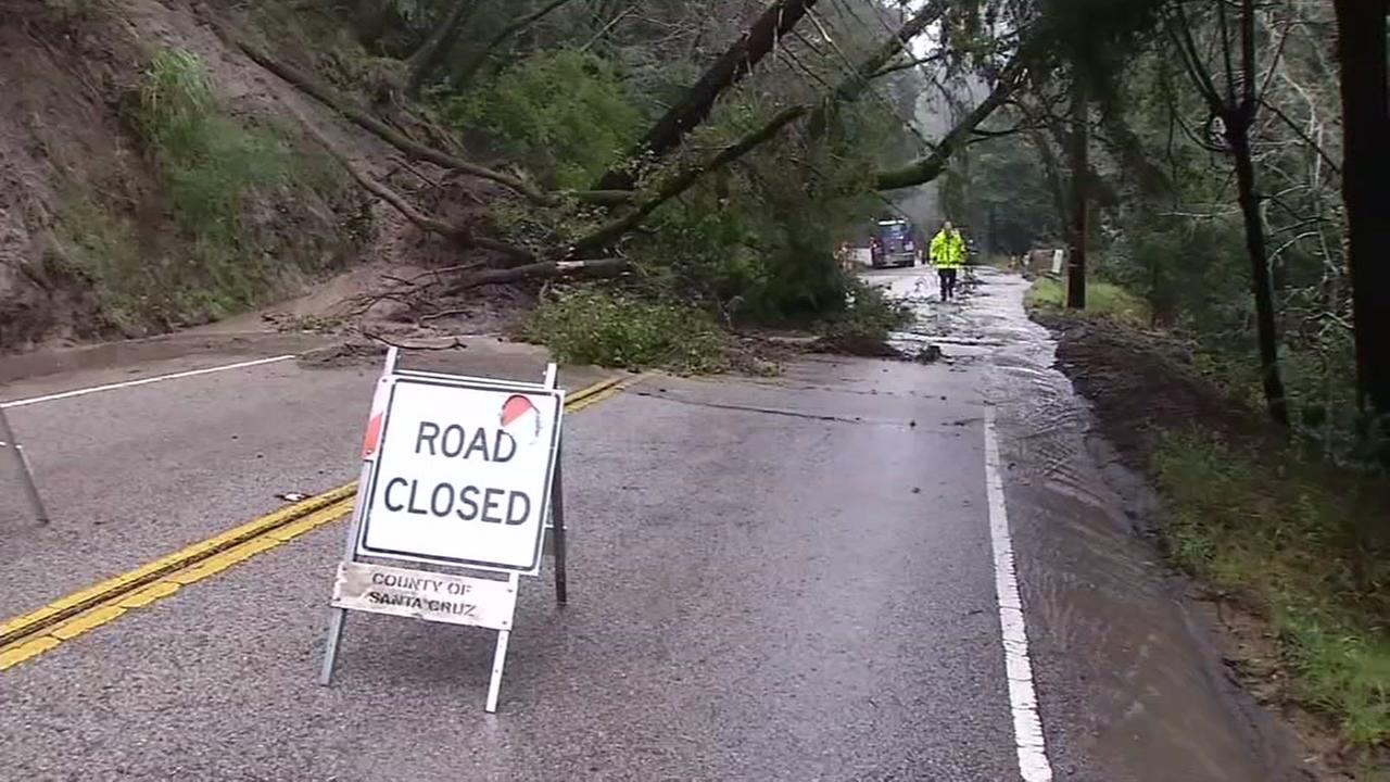 Road closures after a tree topples over in the Santa Cruz Mountain area Monday, February 20, 2017KGO-TV