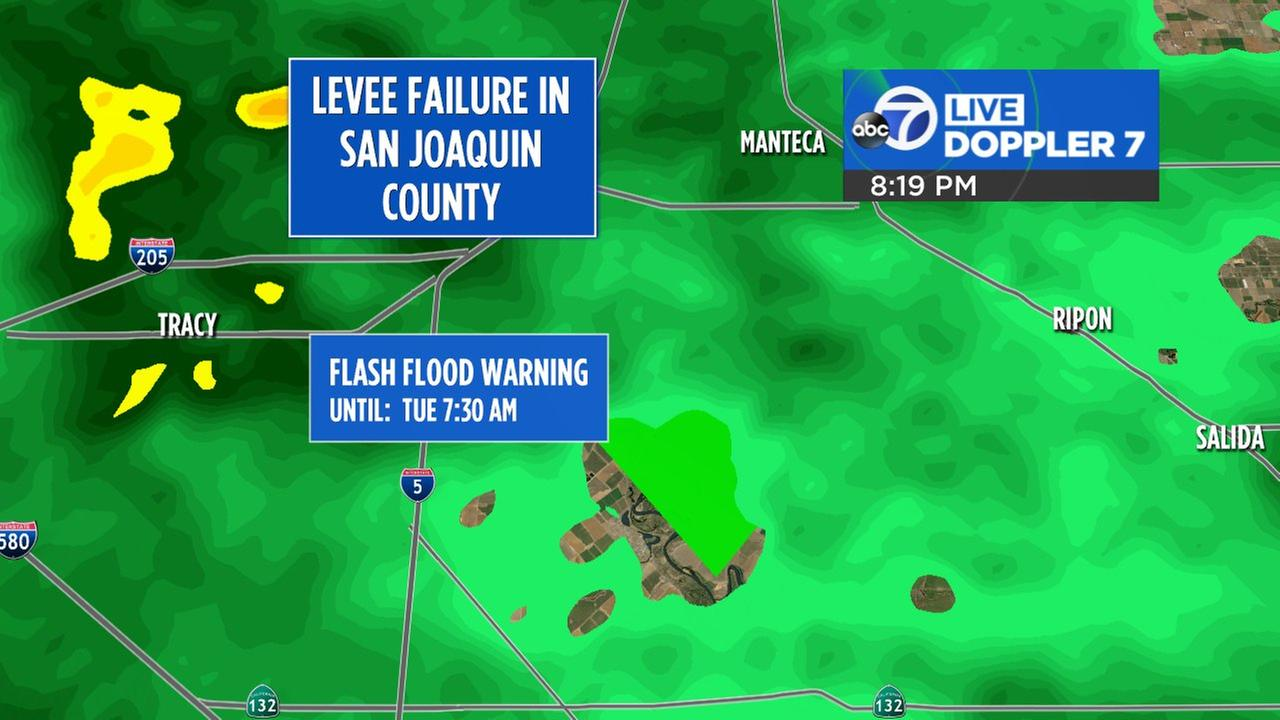 Live Doppler 7 radar shows where a levee broke near Mantica, Calif. on Jan. 20, 2017.