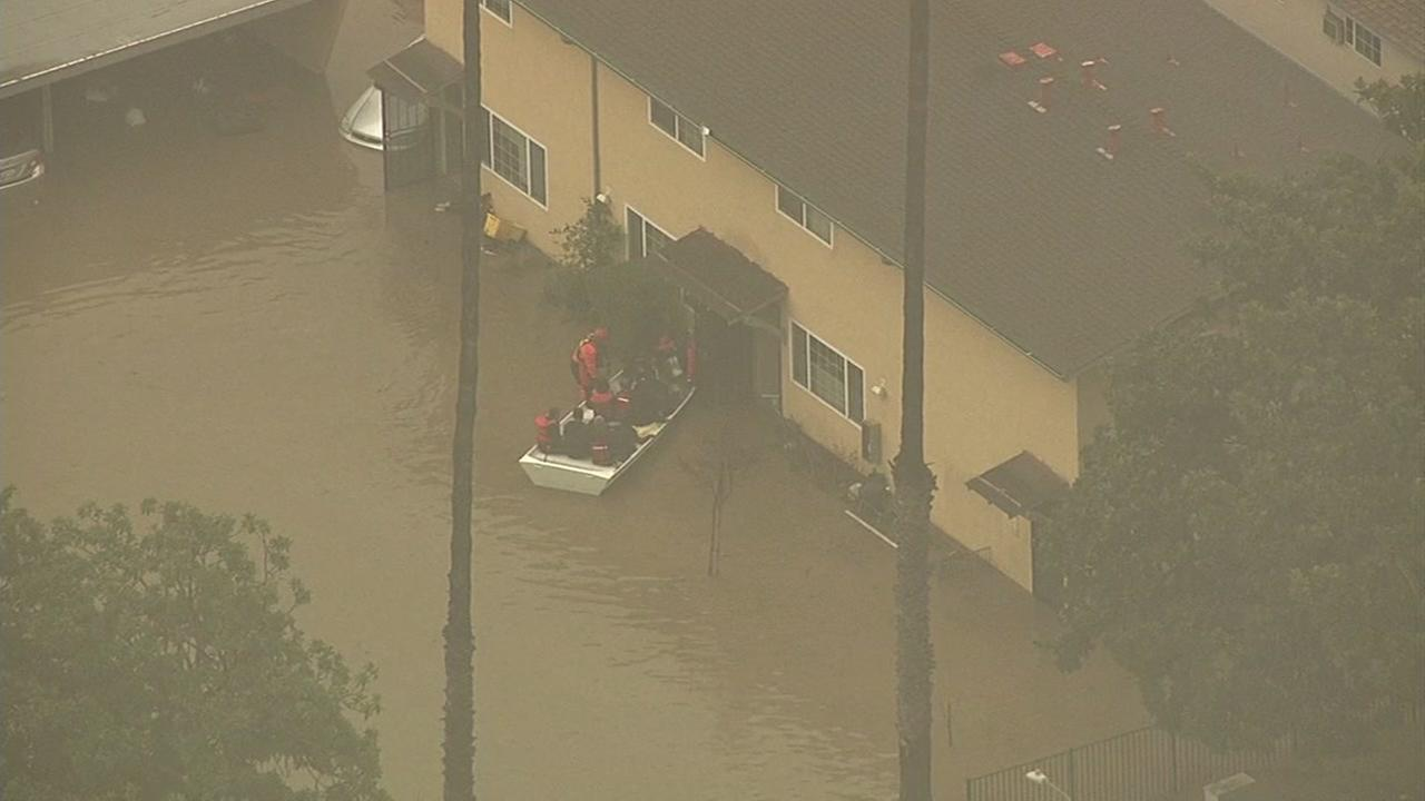 San Jose firefighters had to rescue dozens of residents by boat in flood waters in the Nordale neighborhood.KGO-TV