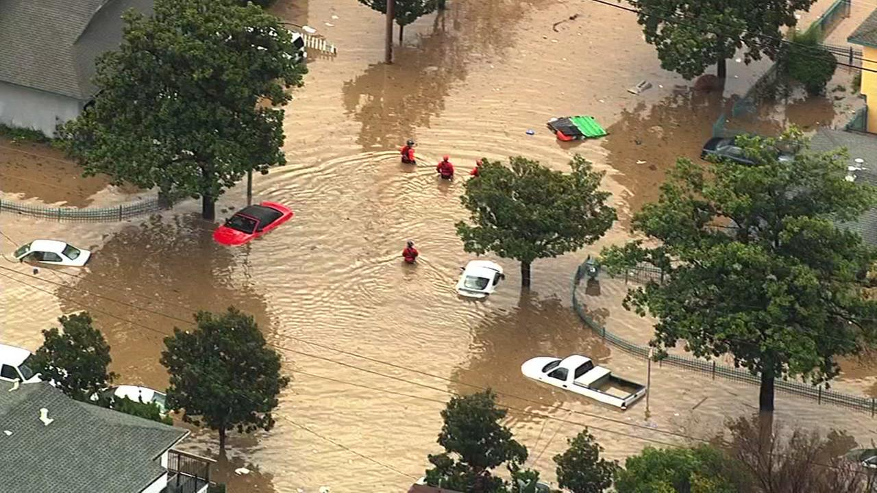 San Jose firefighters rescue dozens of residents by boat in flood waters in the Nordale neighborhood on Tuesday February 21, 2017.KGO-TV