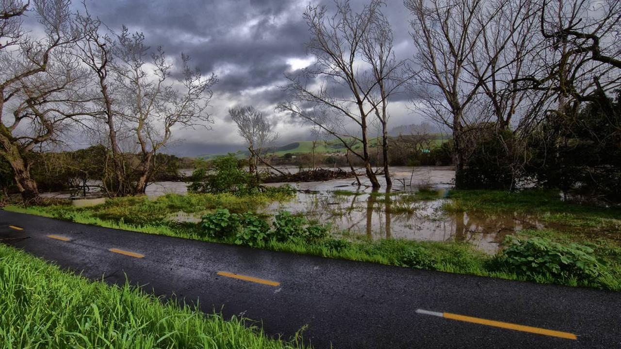 Coyote Creek creeps up to a bike path in San Jose, Calif. on Feb. 22, 2017.ryan_reese91/Instagram
