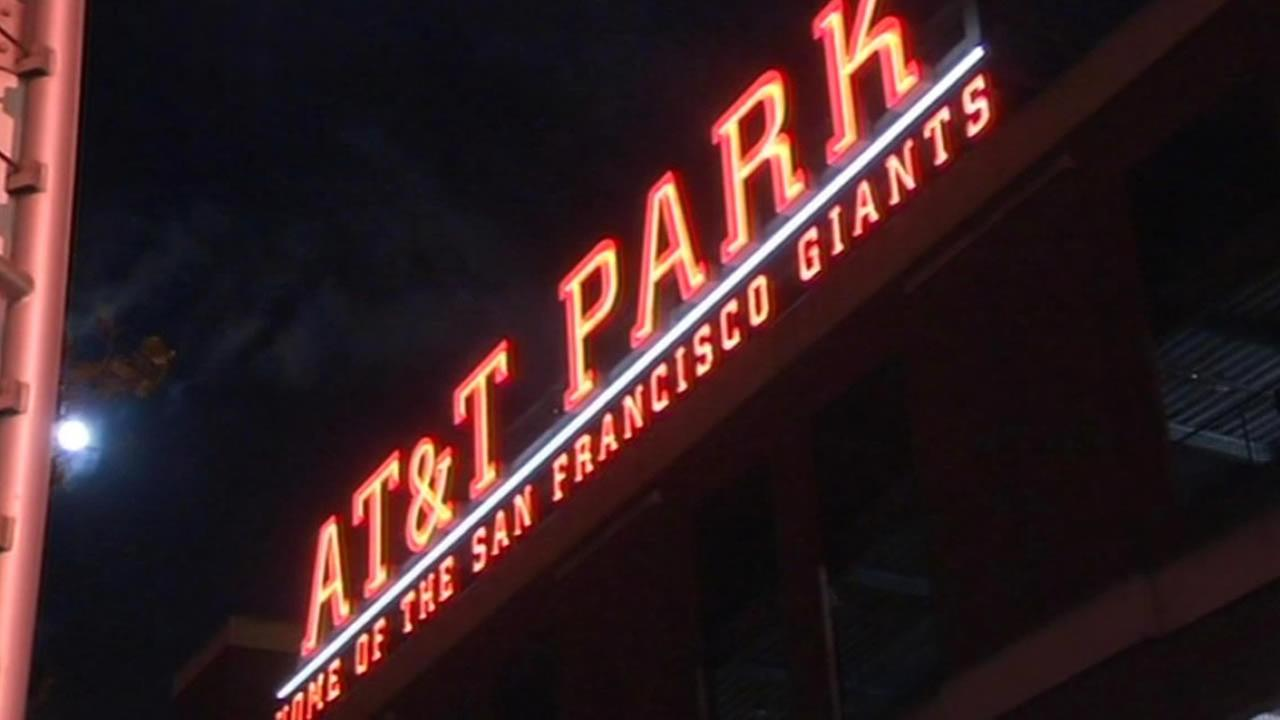 AT&T ballpark sign at night