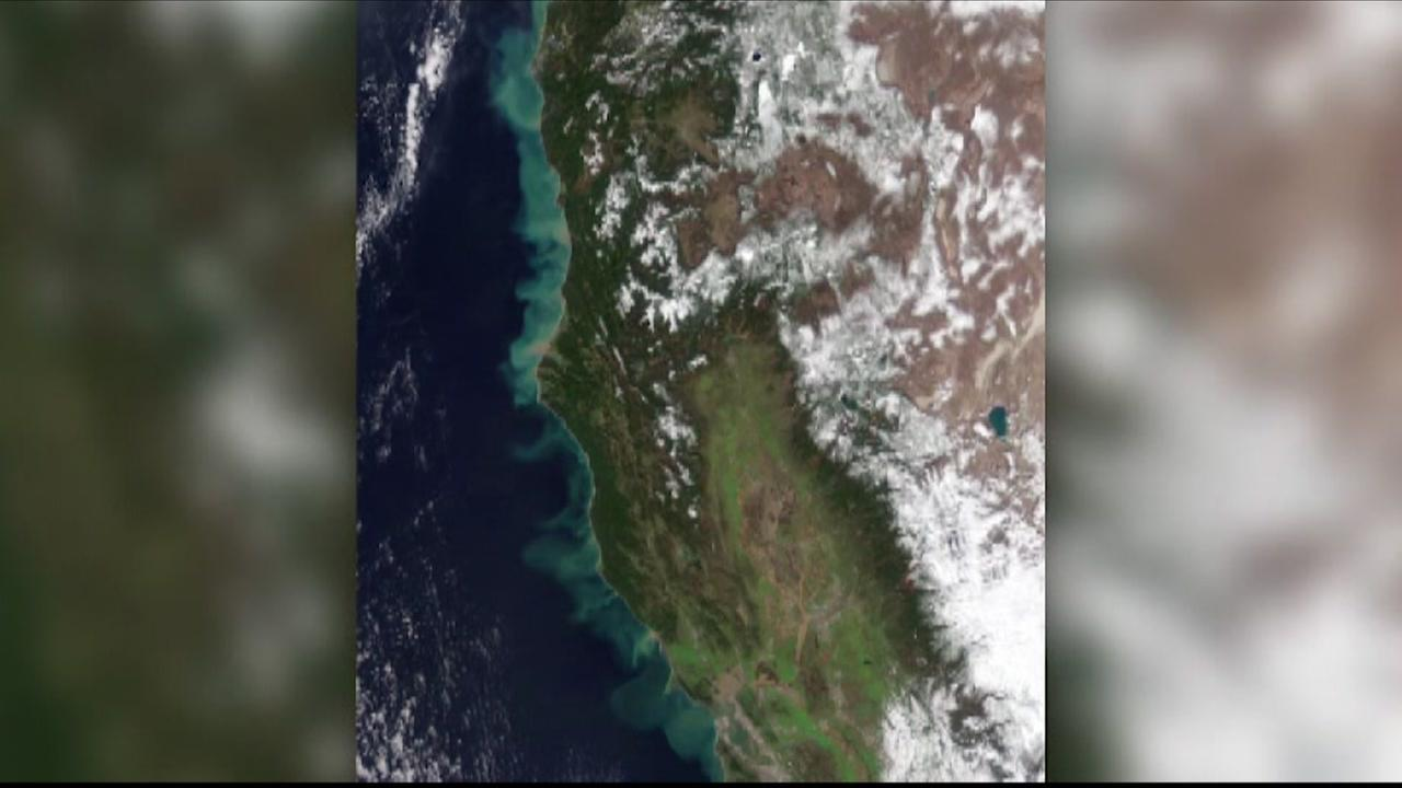 This satellite photo from NASAs Earth Observatory shows the affect big winter storms have had on California.