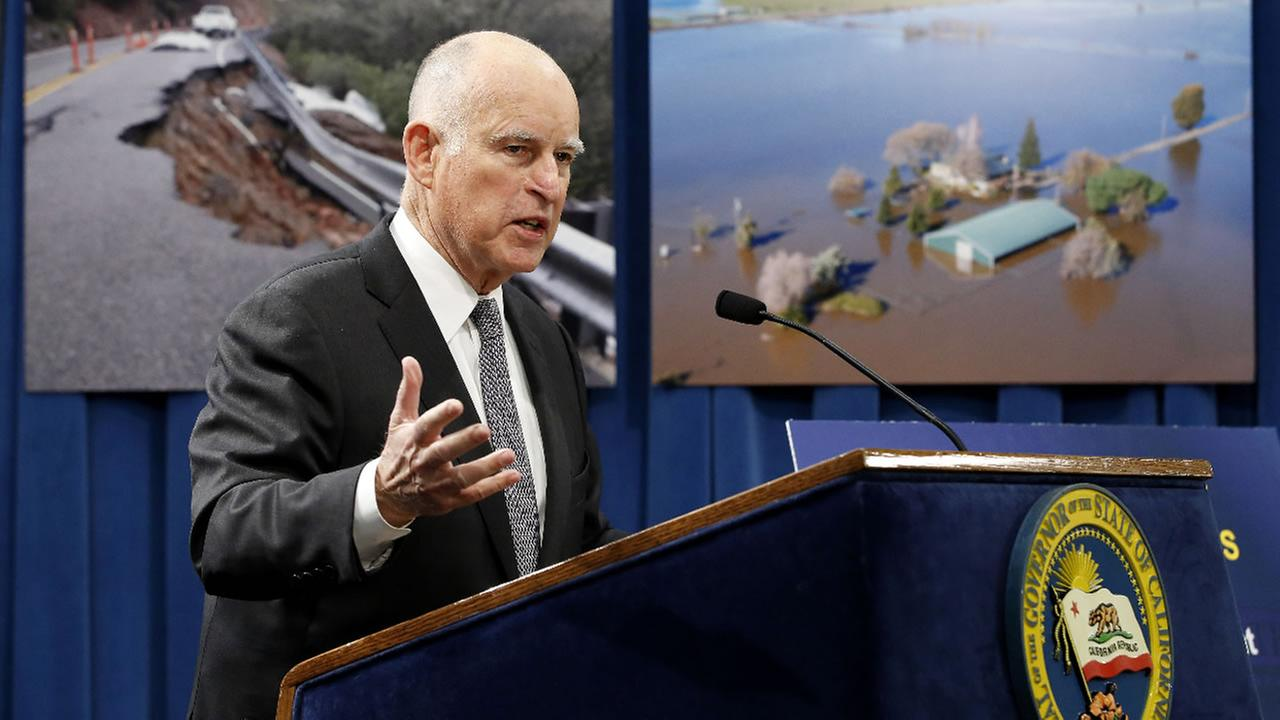 Gov. Jerry Brown discusses his proposal to spend $437 million on flood control and emergency response in the wake of recent storms, during a news conference Friday, Feb. 24, 2017, in Sacramento, Calif.