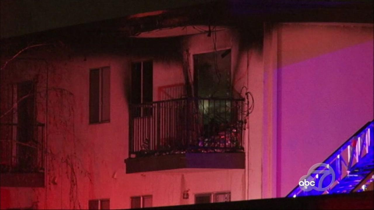 Fire at apartment complex in Hayward, California, Monday, February 27, 2017.