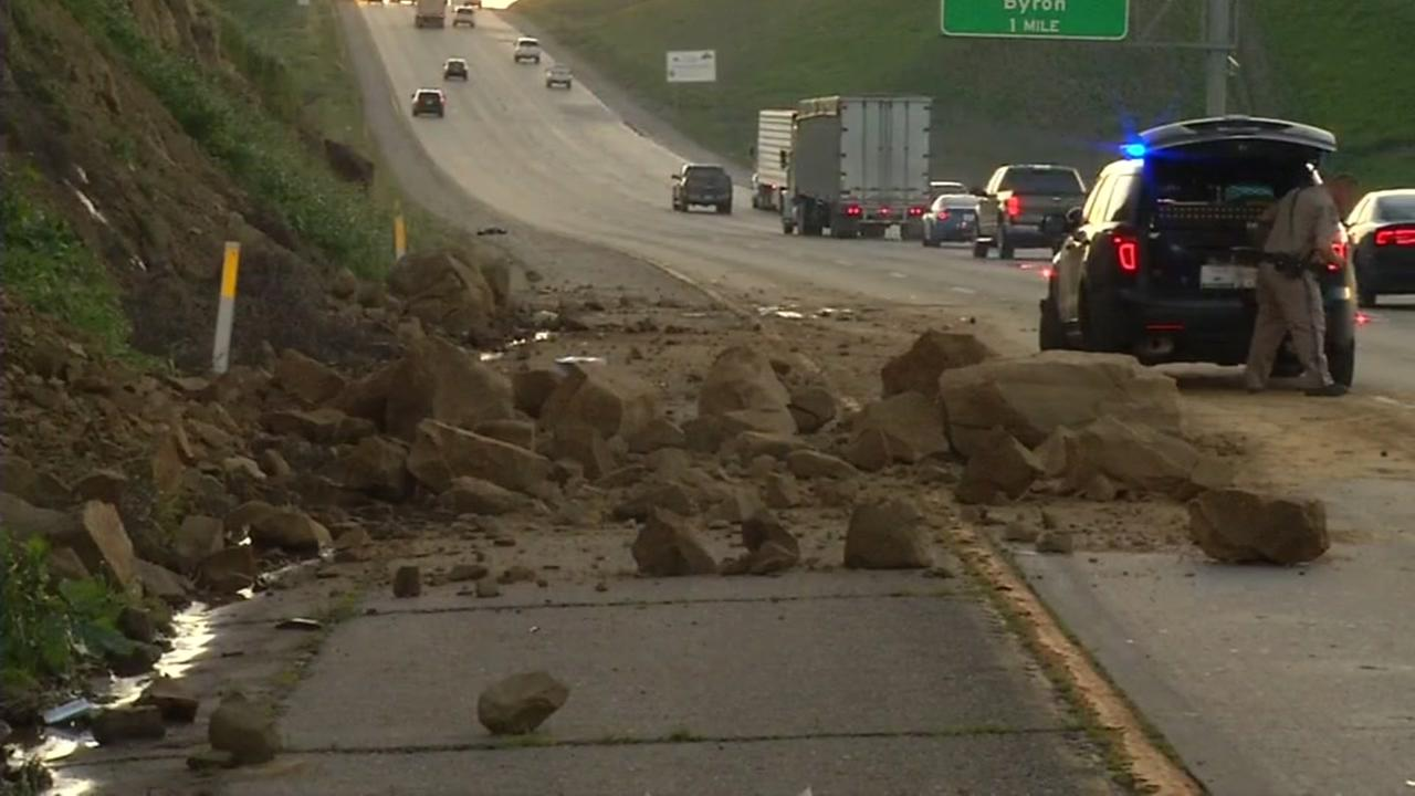 A landslide went right onto I-580 in Livermore, Calif. on Tuesday, Feb. 28, 2017.