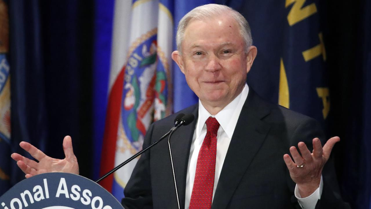 In this Feb. 28, 2017, photo, Attorney General Jeff Sessions pauses while speaking at the National Association of Attorneys General annual winter meeting in Washington.