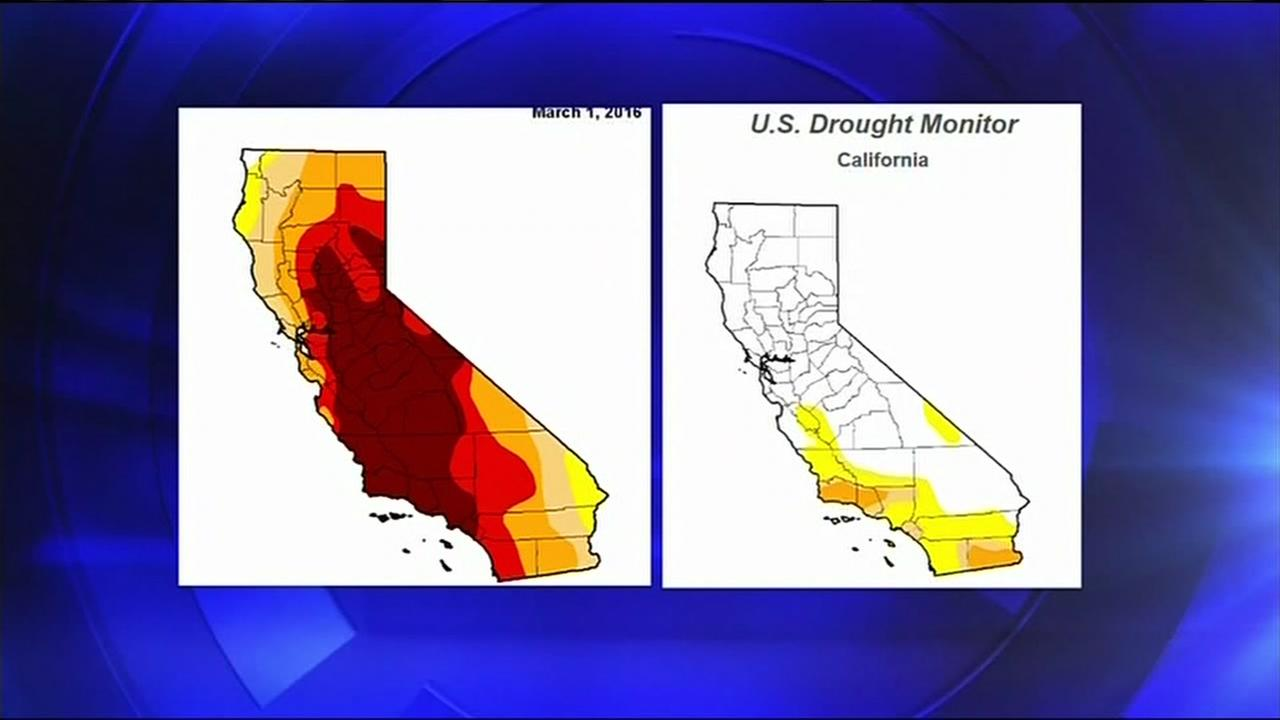A comparison of drought maps in California is seen in this undated image.
