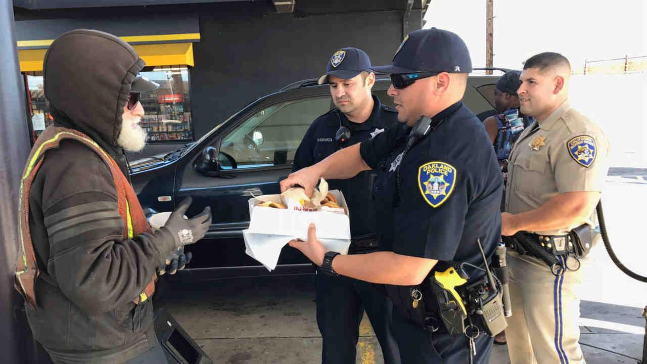 The CHPs Golden Gate Division has teamed up with OPD to share food, conversation and basic humanity with the Bay Areas homeless population.