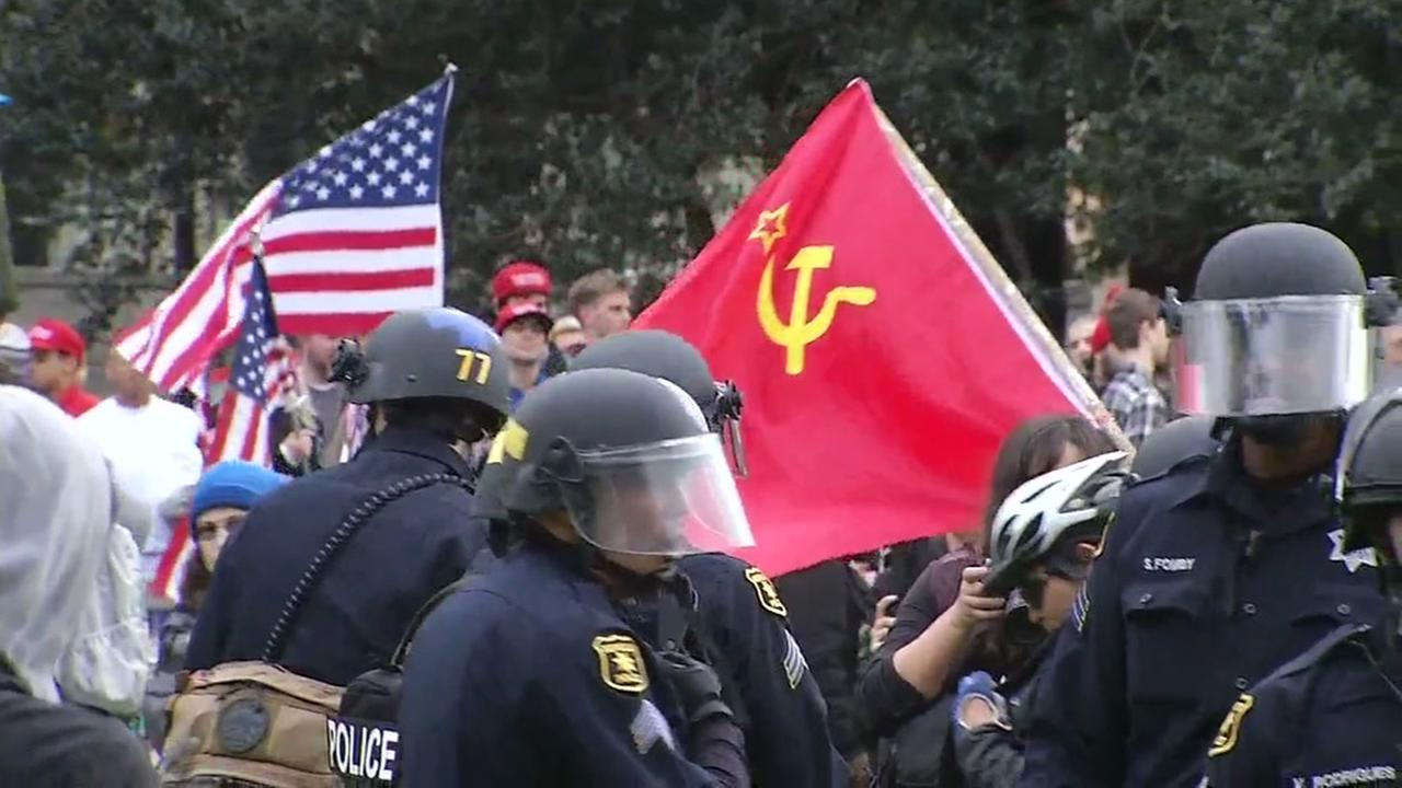 Protesters clash over President Donald Trump on Saturday, March 4, 2017 in Berkeley, Calif.KGO-TV