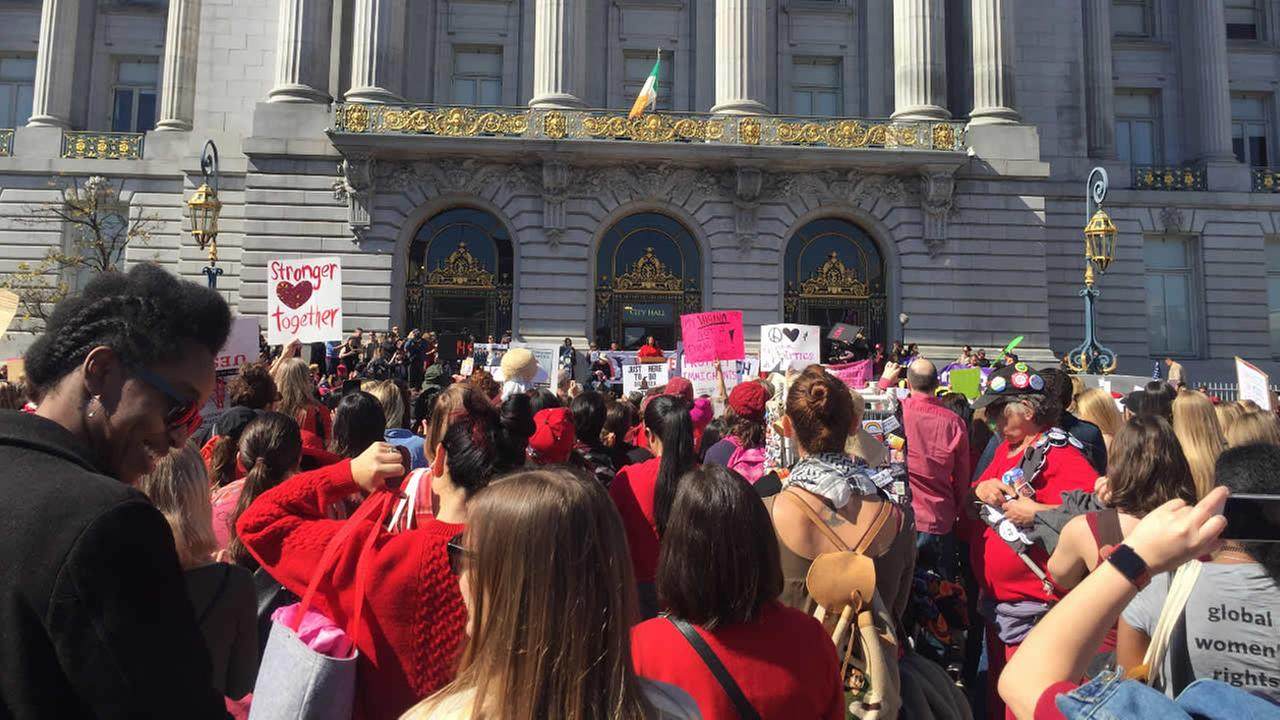 Women are seen taking part in an International Womens Day march in San Francisco, Calif. on Wednesday, March 8, 2017.KGO-TV