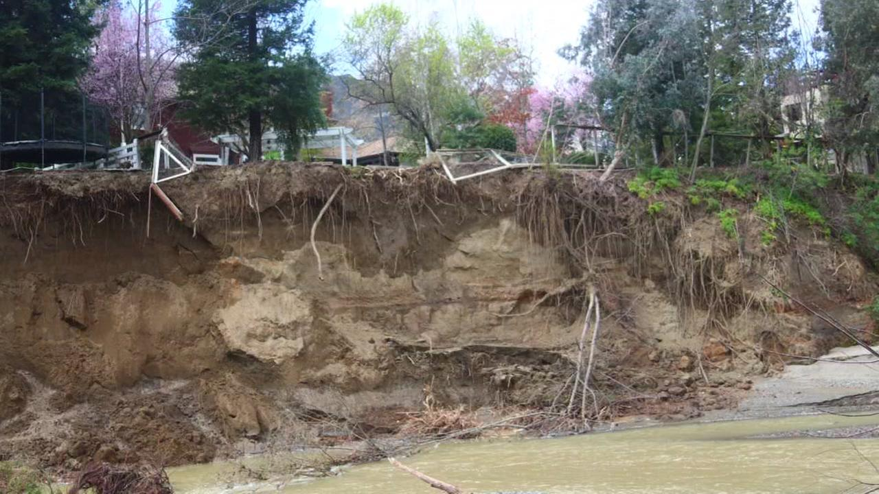 Heres a view of the erosion on Foothill Boulevard in Pleasanton, Calif. on Wednesday, March 8, 2017.