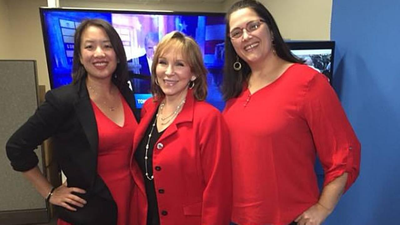 ABC7 News Cheryl Jennings, Mimi Kwan and Laura Kutch are seen wearing red in support of International Womens Day in San Francisco, Calif. on Wednesday, March 8, 2017.KGO-TV