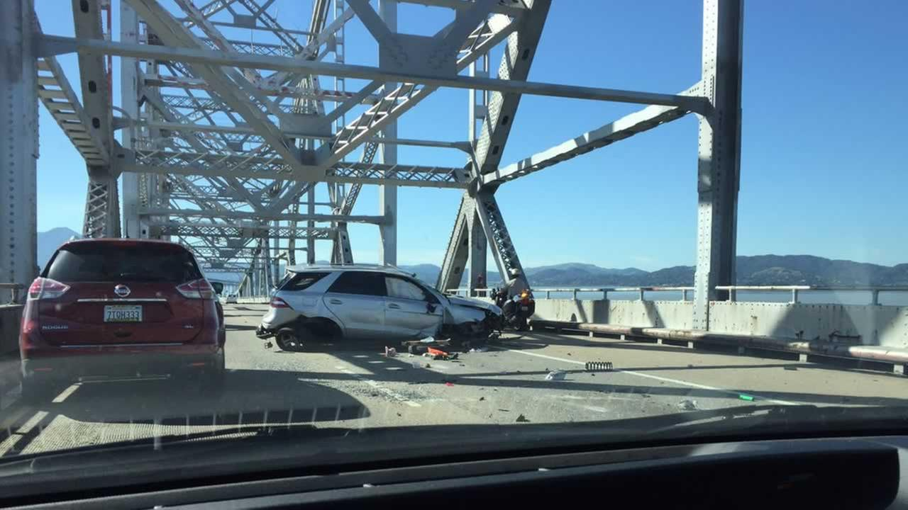An overturned SUV has blocked the westbound lanes of the Richmond Bridge. Wednesday, Mar. 8, 2017