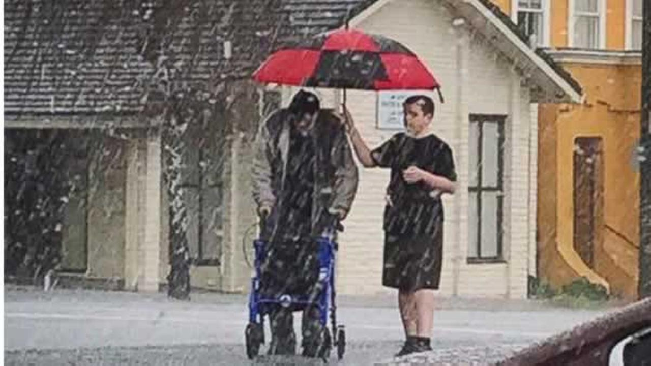 When an elderly man got caught in a hail storm in Vallejo, Calif. on Sunday, March 5, 2017, a teenager jumped in to help.