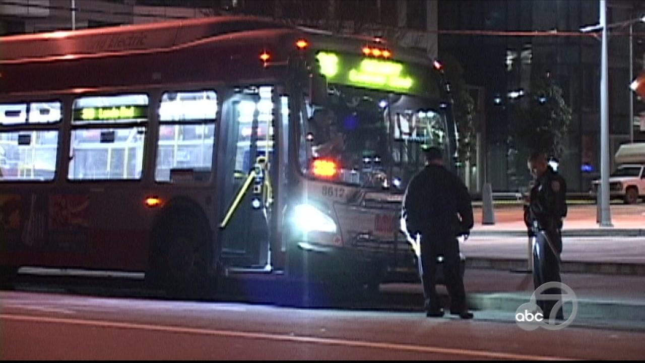 Police investigate attack on Muni bus driver in San Francisco, California, Thursday, March 9, 2017.