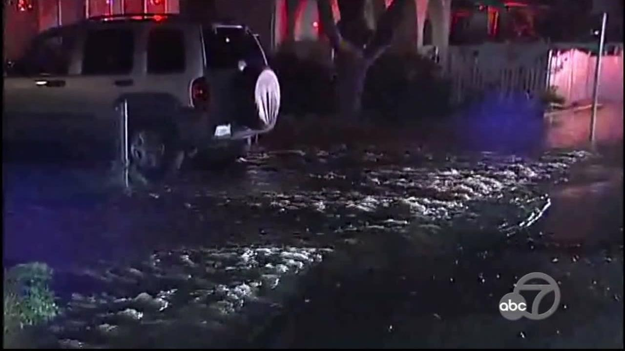 Water main flooding in Pittsburg, California, Thursday, March 9, 2017.