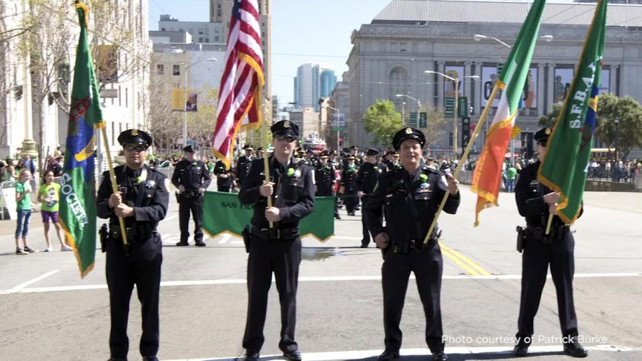 This undated image shows San Francisco police officers in the citys annual St. Patricks Day Parade.