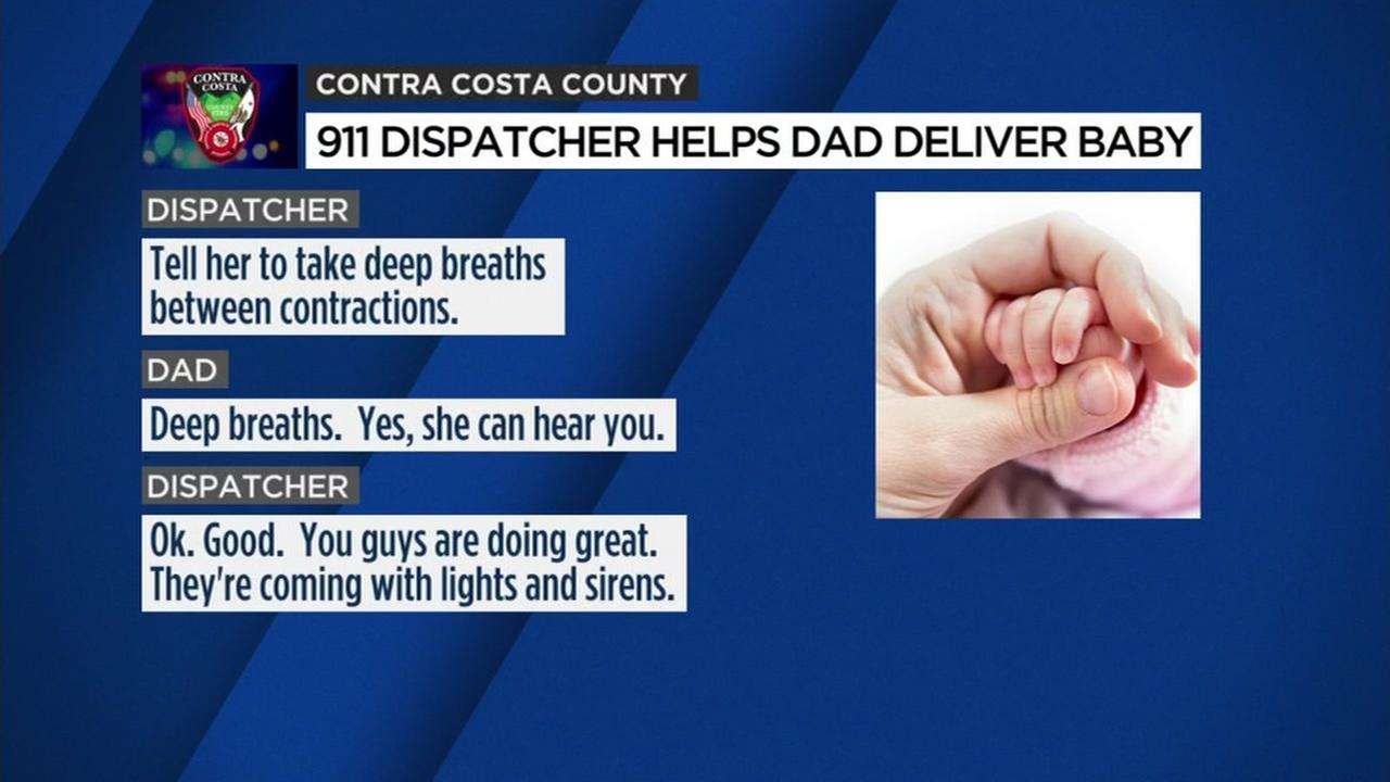 911 dispatcher helps father deliver baby on Highway 4 in Contra Costa County, Calif. on Monday, March 13, 2017.