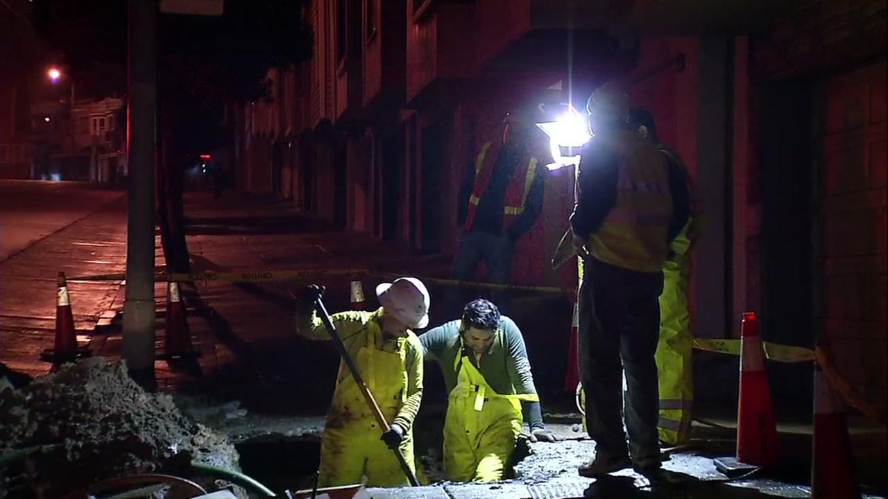 Crews working to repair water main break in San Francisco, California, Thursday, March 16, 2017.