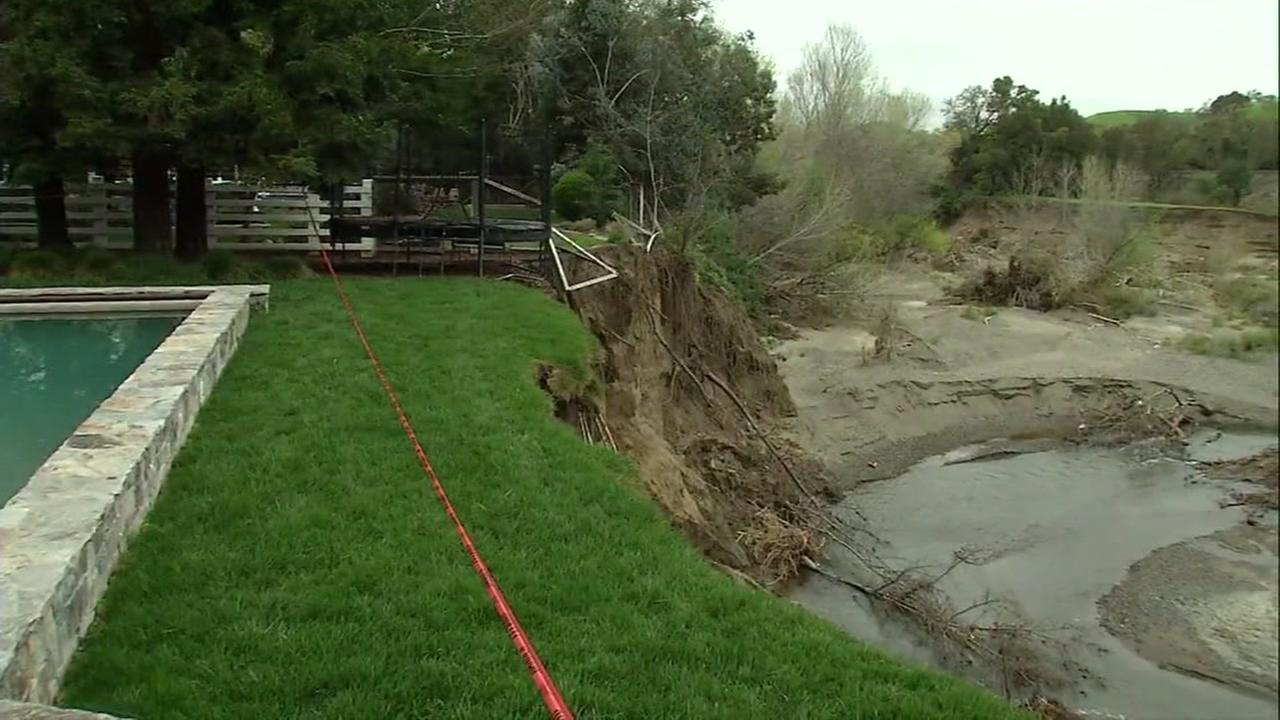 Erosion to backyard in Pleasanton, California, Thursday, March 16, 2017.
