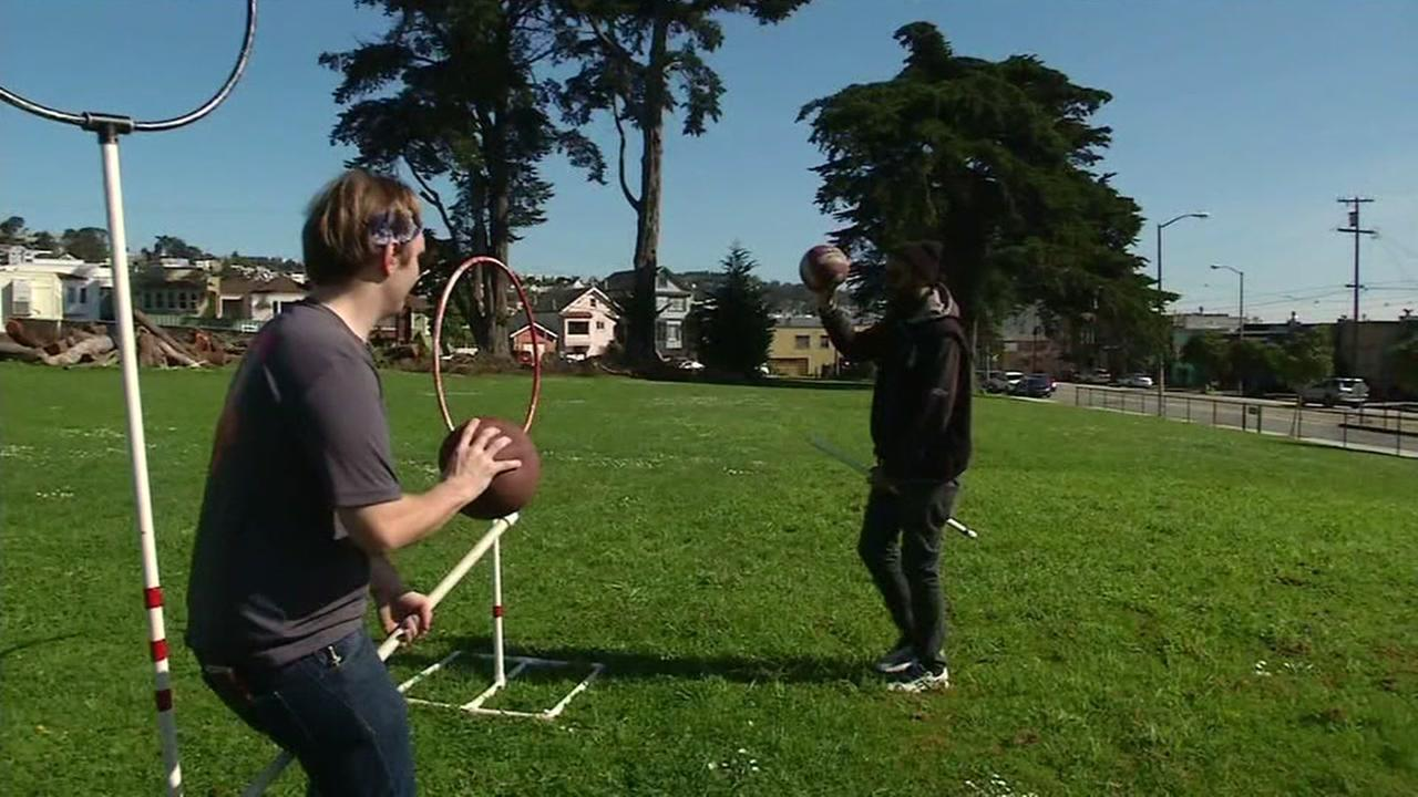 Quidditch is demonstrated at UC Berkeley in Berkeley, Calif. on Friday, March 17, 2017.