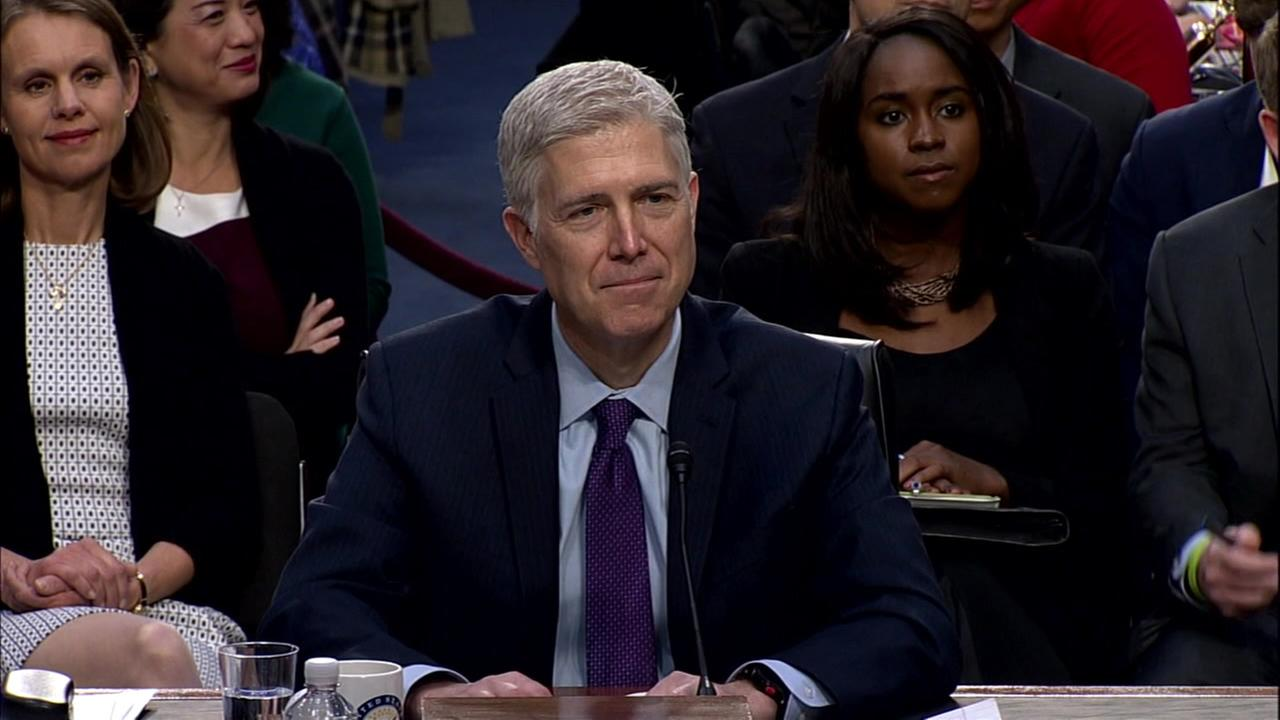 Judge Neil Gorsuch testifies before Congress in Washington D.C. on Tuesday March 21, 2017.
