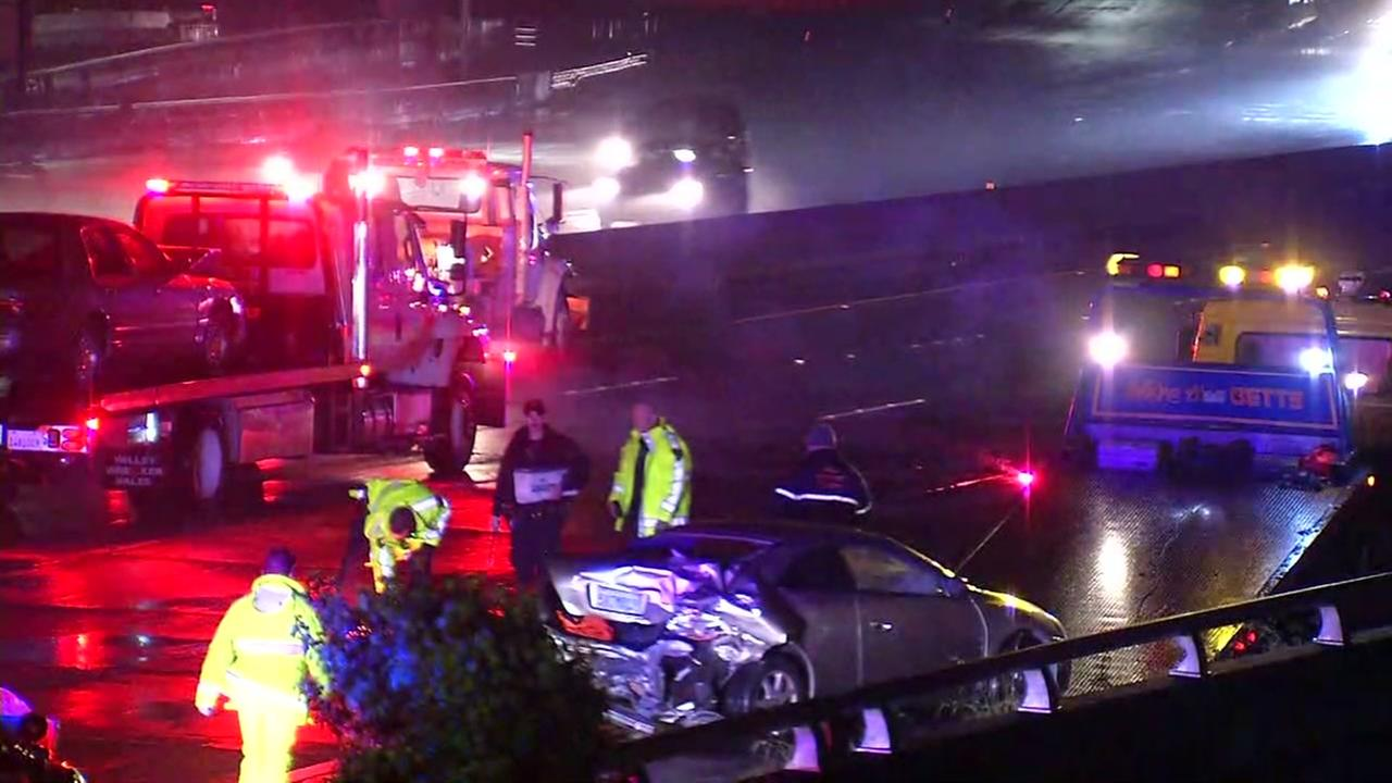 A fatal crash blocked westbound traffic on Interstate 580 in Oakland, Calif. on Wednesday, March 22, 2017.