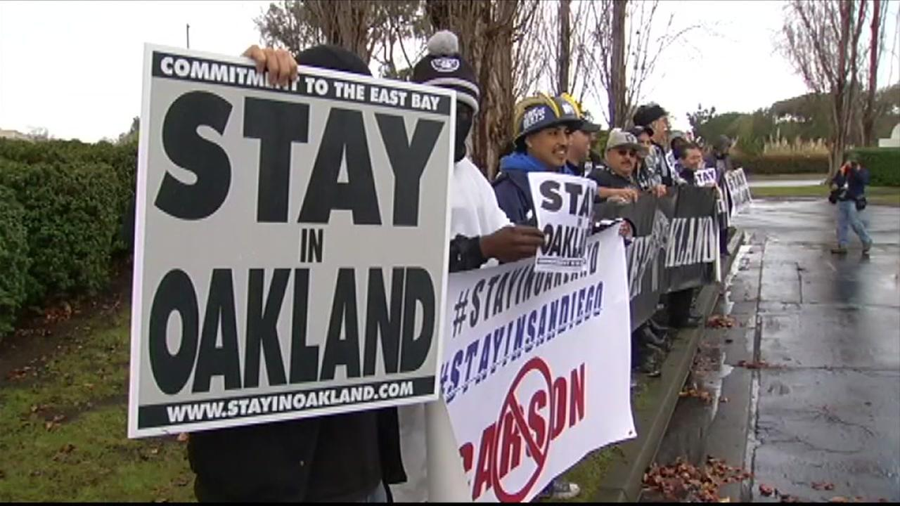 This is an undated image of Oakland Raiders fans protesting.