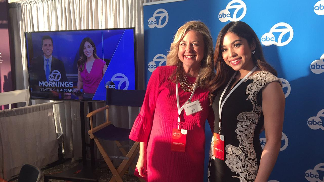ABC7s Amy Hollyfield (left) and (right) Natasha Zouves at the Professional BusinessWomen of California Conference in San Francisco on March, 28, 2017.