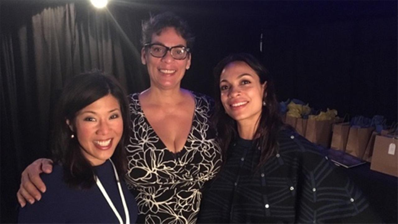 Kristen Sze, Isabel Celeste and Rosario Dawson at the Professional BusinessWomen of California Conference in San Francisco on March, 28, 2017.