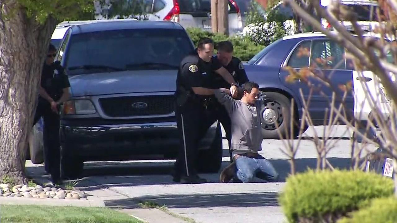 Police are seen arresting an individual in San Jose, California on Tuesday March 28, 2017.