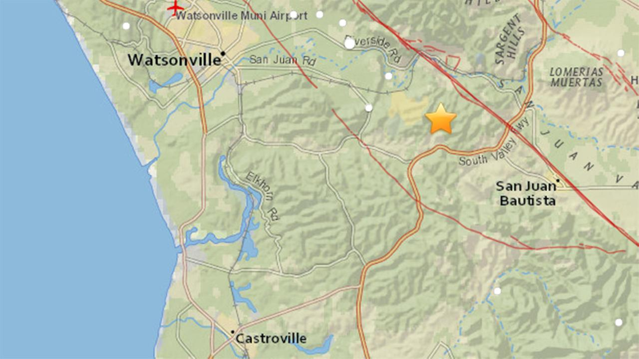 Map of earthquake that struck near San Juan Bautista, California, Friday, March 31, 2017.