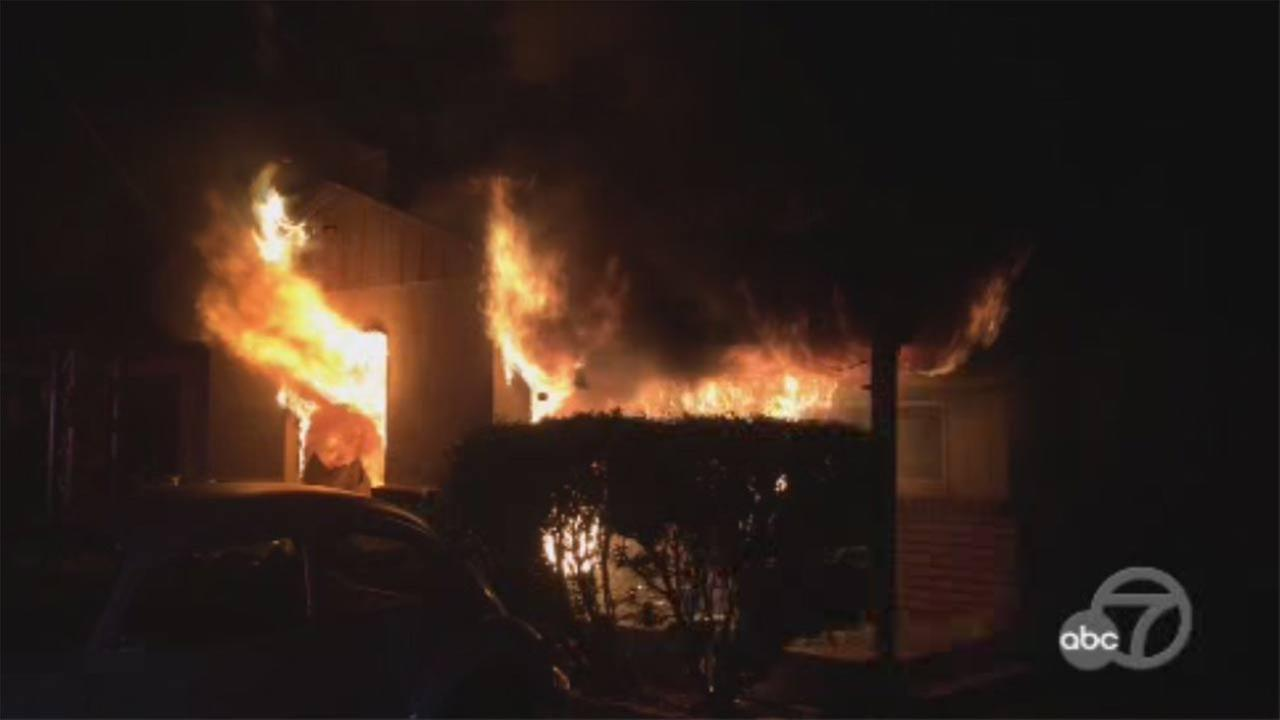 Fire at duplex in San Jose, California, Friday, March 31, 2017.