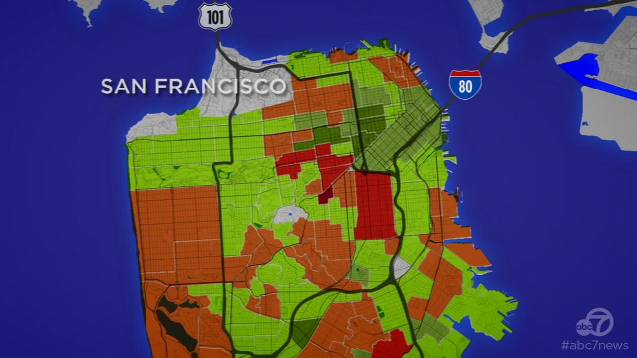 This map shows violent crime across San Francisco in March 2017.