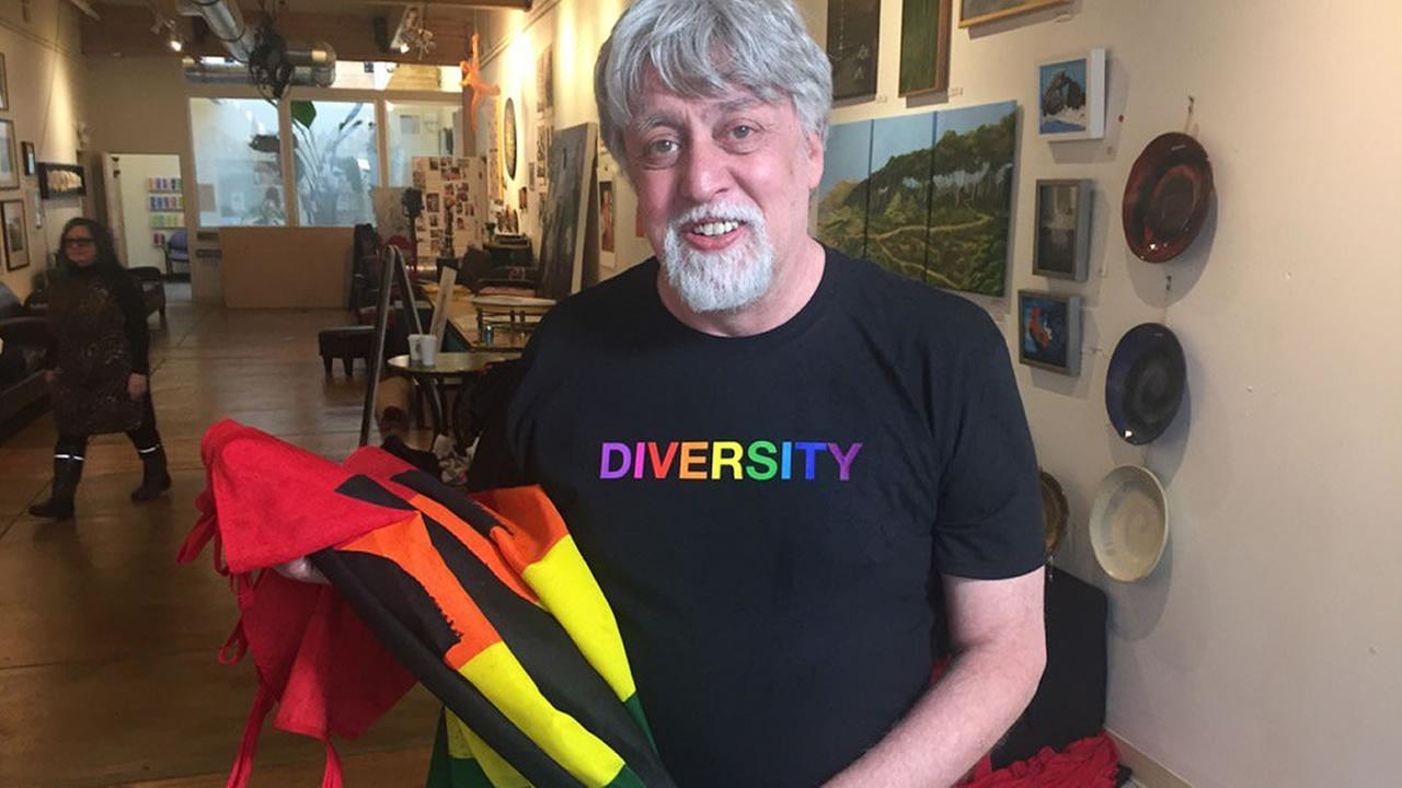 This undated image shows Gilbert Baker, the creator of the gay rights rainbow flag.